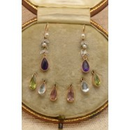 BEAUTIFUL BOXED SET OF ANTIQUE EARRINGS WITH CHOICE OF SEMI PRECIOUS STONES