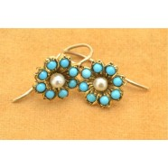 ANTIQUE TURQUOISE AND PEARL EARRINGS