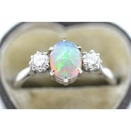 OPAL AND DIAMOND THREE STONE RING