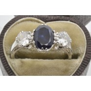 ANTIQUE DIAMOND AND SAPPHIRE THREE STONE RING