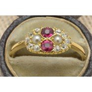 ANTIQUE RUBY, PEARL AND DIAMOND RING