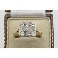 ANTIQUE CHECKER BOARD DIAMOND RING