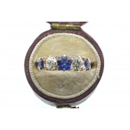 VICTORIAN FIVE STONE DIAMOND AND SAPPHIRE RING