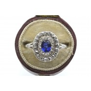 ANTIQUE SAPPHIRE AND DIAMOND OVAL TARGET RING