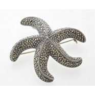 SILVER MARCASITE SET STARFISH BROOCH