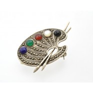 SILVER MARCASITE AND STONE SET ARTISTS PALETTE BROOCH
