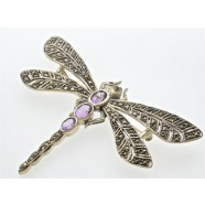 SILVER MARCASITE AND AMETHYST DAMSELFLY BROOCH