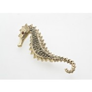 SILVER MARCASITE SET SEA HORSE BROOCH