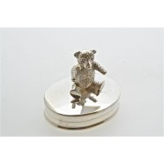 SILVER TOOTH BOX WITH SITTING TEDDY