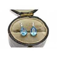 DIAMOND AND BLUE TOPAZ DROP EARRINGS