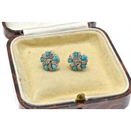 DIAMOND AND TURQUOISE STUD EARRINGS