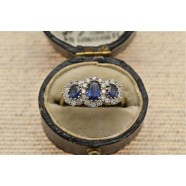 SAPPHIRE AND DIAMOND TRIPLE CLUSTER RING