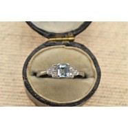 AQUAMARINE AND DIAMOND DRESS RING