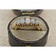 ANTIQUE OPAL FIVE STONE RING