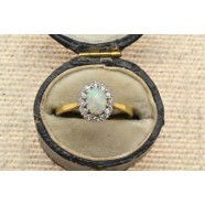 OPAL AND DIAMOND CLUSTER RING