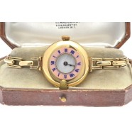 LADIES ANTIQUE GOLD DEMI-HUNTER WRIST WATCH