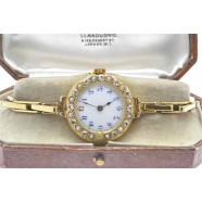 ANTIQUE DIAMOND AND PEARL SET  WRIST WATCH