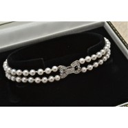 DOUBLE ROW PEARL BRACELET WITH DIAMOND CLASP