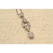 ANTIQUE DIAMOND  ART DECO DROP PENDANT