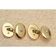 GOLD DIAMOND SET CUFFLINKS