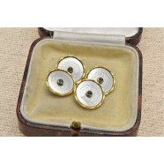 ANTIQUE 18CT GOLD SAPPHIRE SET CUFFLINKS