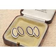 GOLD ENAMELED CUFFLINKS
