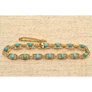ANTIQUE TURQUOISE AND PEARL BRACELET