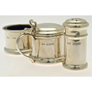 SILVER THREE PIECE CRUET SET