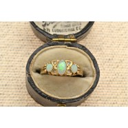 SEVEN STONE DIAMOND AND OPAL RING