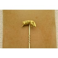 ANTIQUE 18CT GOLD FOX TIE PIN