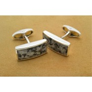 IRISH SILVER CUFFLINKS SET WITH DUN LAOGHAIRE GRANITE