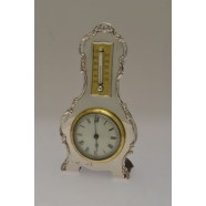 ANTIQUE SOLID SILVER CLOCK/BAROMETER