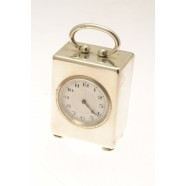 ANTIQUE SILVER MINATURE CLOCK