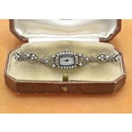 SIVLER MARCASITE AND SEED PEARL WATCH