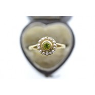 ANTIQUE PERIDOT AND SEED PEARL RING